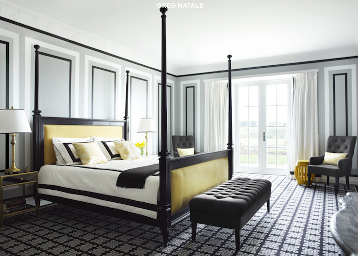 Black And White And Yellow Bedroom gray and yellow bedroom - contemporary - bedroom - martha o'hara