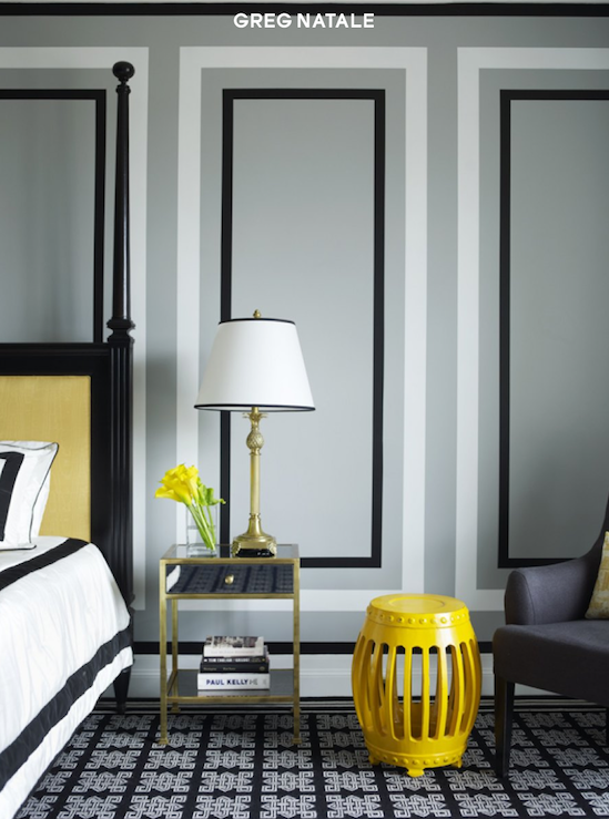 View Full Size. Chic Yellow Gray Black Bedroom Design ...