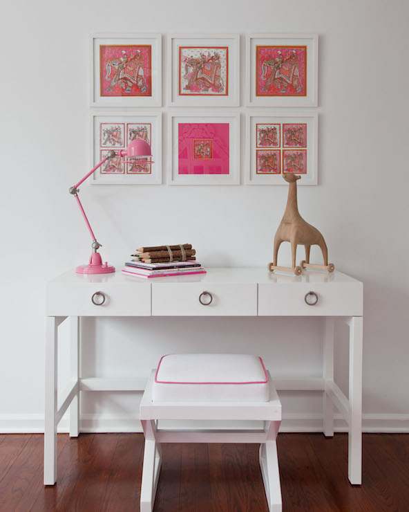 White Lacquer Desk Contemporary Girl 39 S Room Sissy And Marley