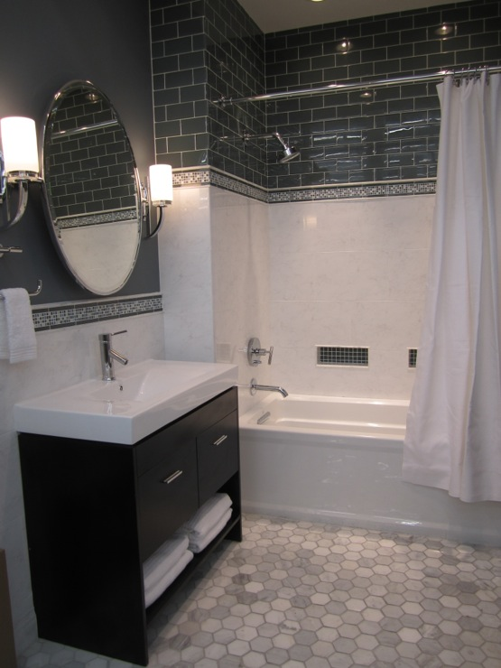 Contemporary Bathroom Sherwin Williams Foggy Day