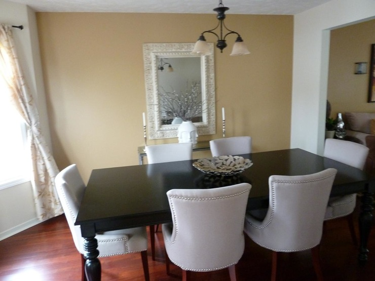 Transitional Dining Room Valspar Almond Toast