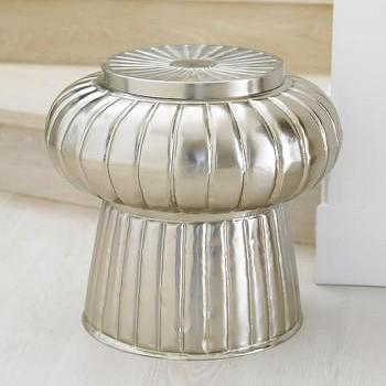 Moroccan Fluted Metal Stool, VivaTerra