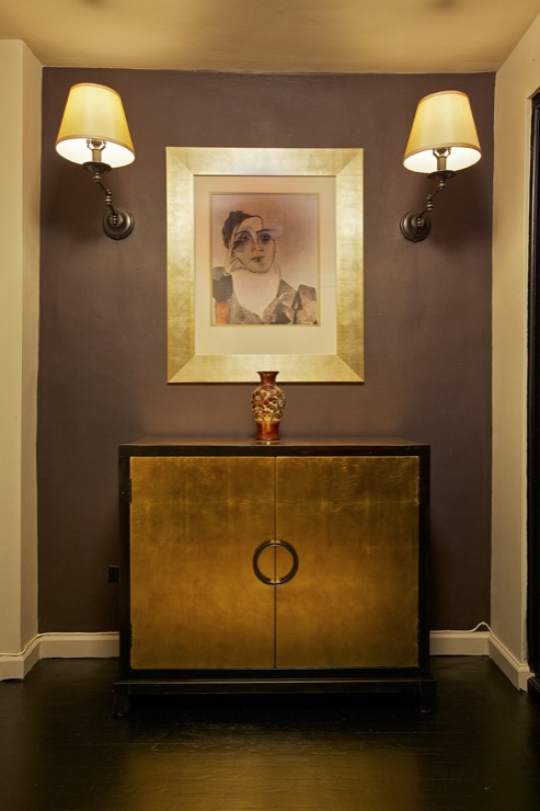 Purple Gray Paint Color Contemporary Entrance Foyer