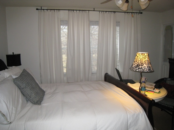 this is my bedroom  i have four shades of white of everything  and I made  floor to ceiling white curtains. View Post   White curtains Drapes for living room or bedroom