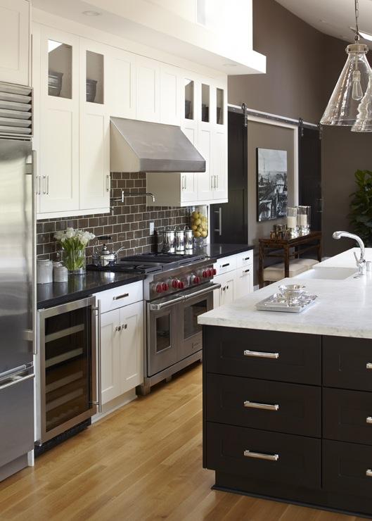 Brown Subway Tiles, Contemporary, kitchen, Benjamin Moore Woodcliff Lake, Urrutia Design