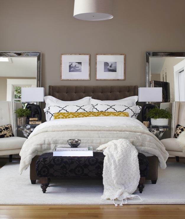 Brown Tufted Headboard, Transitional, bedroom, Benjamin Moore Brandon Beige, Urrutia Design