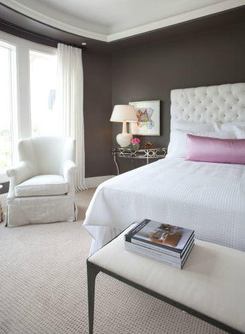 Pink lumbar pillow transitional bedroom dodson and Dark brown walls bedroom