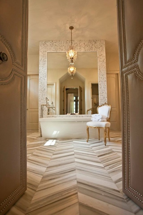 Marble Herringbone Floor Transitional Bathroom 12