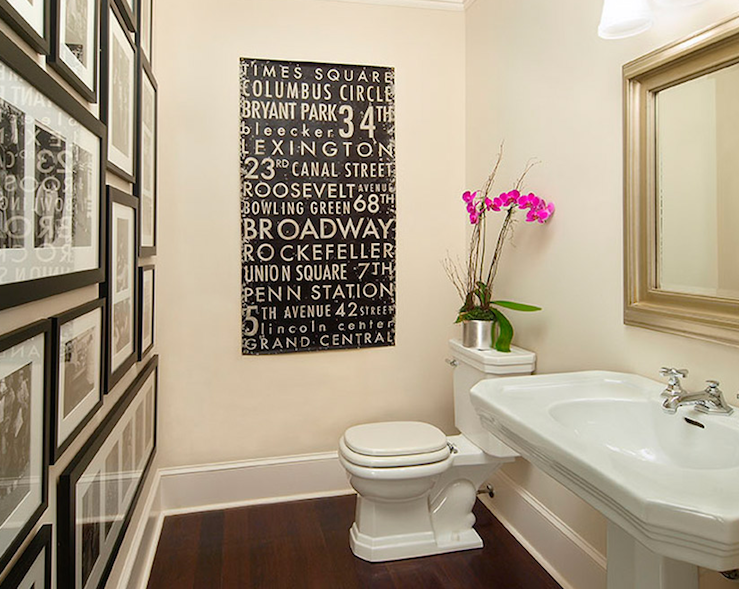 Photo wall in bathroom transitional bathroom traci for Bathroom wall decor ideas
