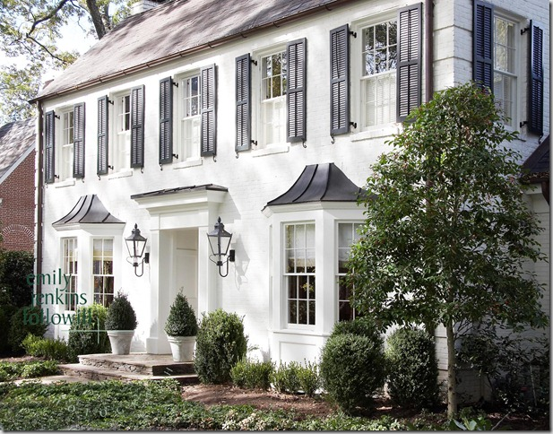 White shutters design ideas for Colonial brick