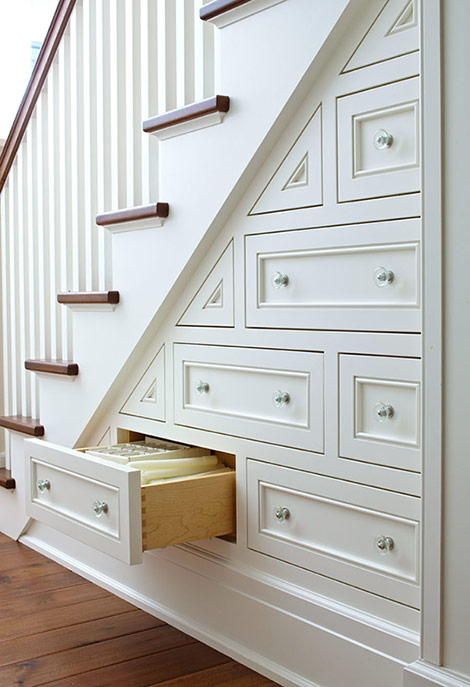 Staircase Storage Drawers, Traditional, entrance/foyer, Benjamin Moore White Dove, Traditional Home
