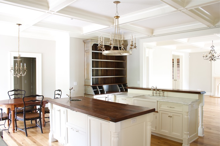 Delightful Chic French Country Kitchen Design With Coffered Ceiling, Off White Kitchen  Cabinets, Kitchen Island, Breakfast Bar, Butcher Block Counter Tops, ...
