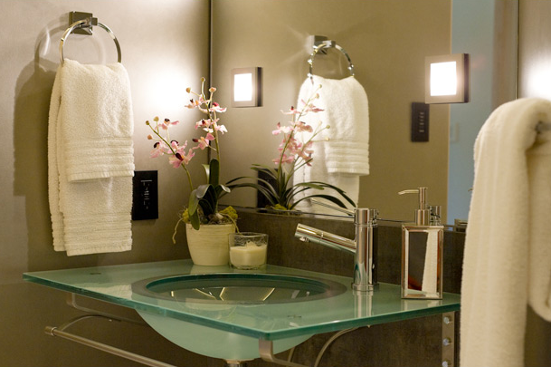 Glass Top Washstand Transitional Bathroom Ambiance