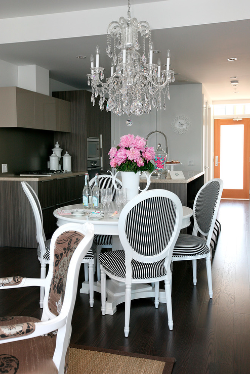 Fabulous Dining Room Design With Glossy White Pedestal Table Louis Chairs Upholstered In Black Striped Fabric