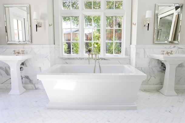 Marble herringbone floor transitional bathroom for Carrara marble bathroom floor designs