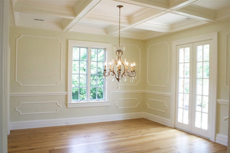 Beautiful Buter Yellow Dining Room Design With Coffered Ceiling French Doors Decorative Wall Moldings And Oak Floors