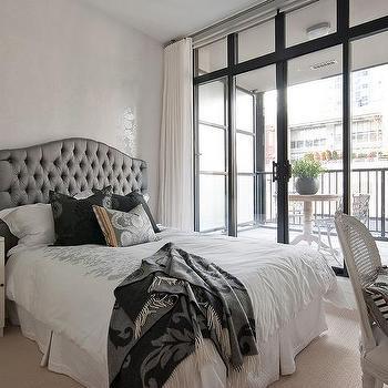 Gray Tufted Headboard, Contemporary, bedroom, The Cross Decor & Design