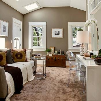 Taupe Color Walls, Contemporary, den/library/office, Benjamin Moore Woodcliff Lake, Urrutia Design