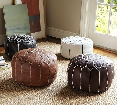 Moroccan Leather Pouf Pottery Barn