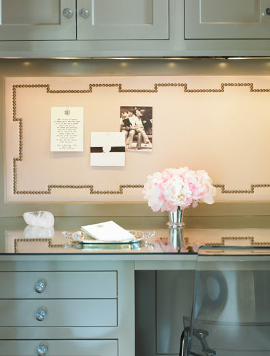 Chic Small Office Nook Design With Gray Green Cabinets Built In Glass Top Desk And Nailhead Trim Bulletin Board