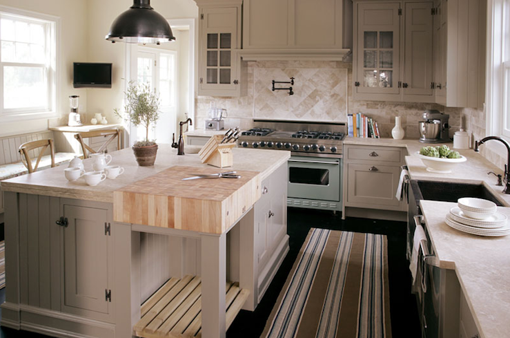 Striped Kitchen Runner Transitional Kitchen Bakes And Company - Soft gray kitchen cabinets