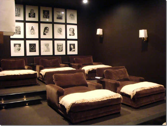 Superb Gorgeous Chocolate Brown Media Room With Dark Chocolate Walls Paint Color, Chocolate  Brown Velvet Chaise Lounges, Ivory Throws And Black U0026 White Photo ...
