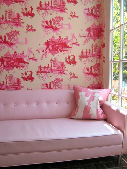 Fun Sophisticated Girl S Room With Pink Tufted Sofa Pink Geisha Pillow And Hot Pink Toile Wallpaper