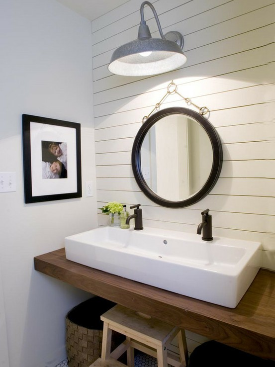 Trough Sink Transitional Bathroom HGTV