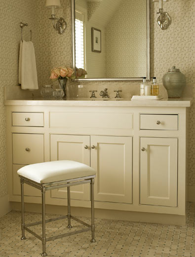 Polished Nickel Vanity Stool Design Ideas