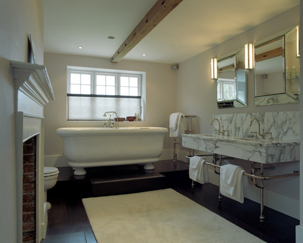 Bathtub On Platform Transitional Bathroom Carden