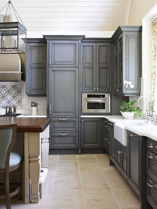 Gray Painted Kitchen Cabinets Traditional Kitchen Traditional Home - Traditional grey kitchen cabinets
