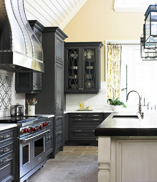 Dark gray kitchen cabinets transitional kitchen for Charcoal painted kitchen cabinets
