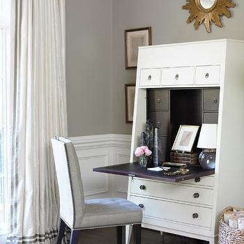 White Secretary Desk, Transitional, den/library/office, Courtney Hill Interiors