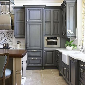 Gray Painted Kitchen Cabinets, Traditional, kitchen, Traditional Home