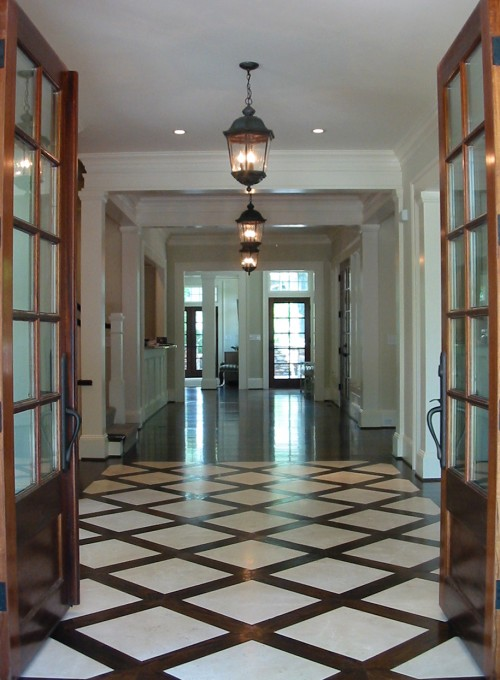Black entrance doors design ideas for Entrance foyer tiles