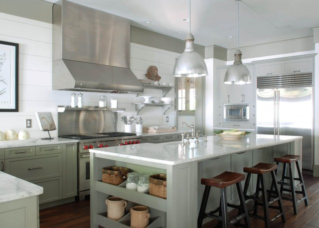 Gray Green Cabints Cottage Kitchen Benjamin Moore Gettysburg - Pale green kitchen cabinets