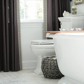 Curtains with Greek Key Trim, Transitional, bathroom, Rachel Bishop Designs