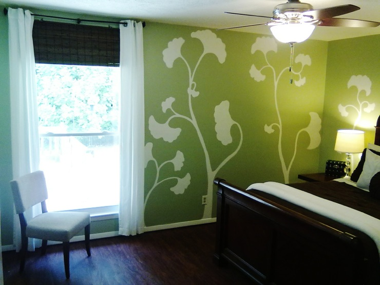 Hand Painting Designs On Walls : Hand Painted Wall Mural - Contemporary - bedroom - Glidden Meadow Sage