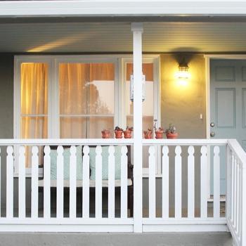 Gray Front Door, Transitional, porch, Benjamin Moore sage mountain, 346 Living