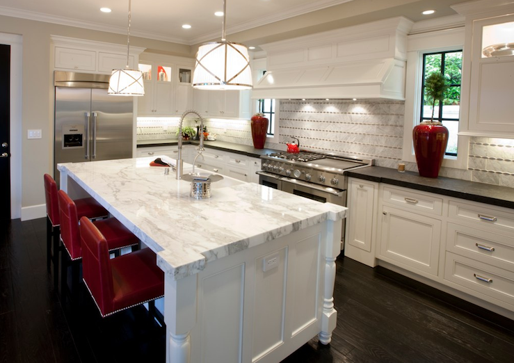 Calcutta marble countertops contemporary kitchen spinnaker development Kitchen countertop choices
