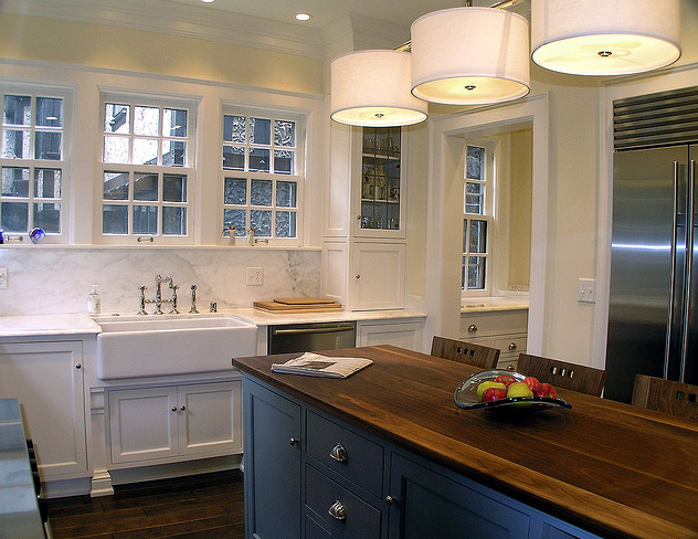 Blue Center Island Transitional Kitchen Cream City