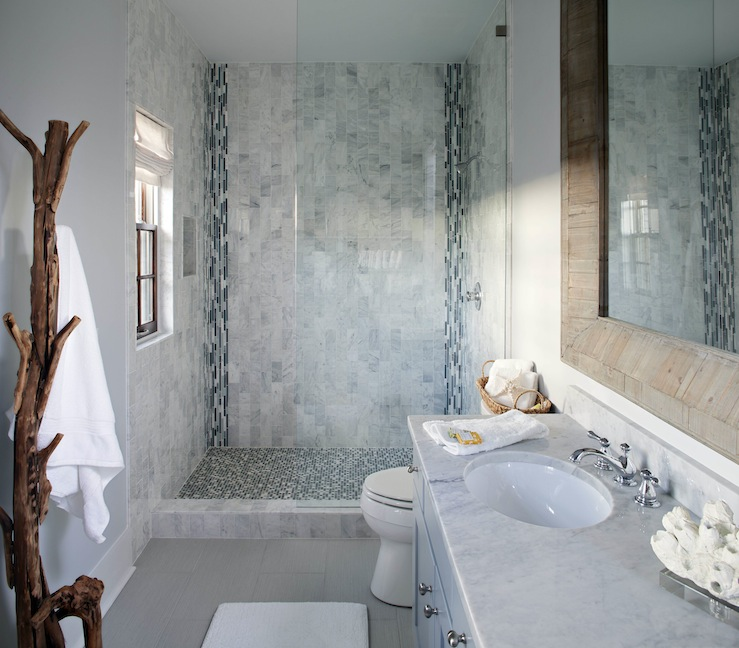Blue mosaic tile shower cottage bathroom sherwin for Blue tile bathroom ideas