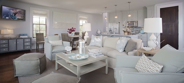 Cottage living room sherwin williams misty - Wicker furniture adding cottage decor feel to modern living room designs ...