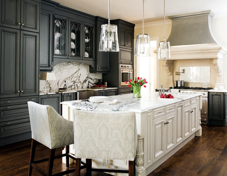 Damask Bar Stools Transitional Kitchen Atlanta Homes