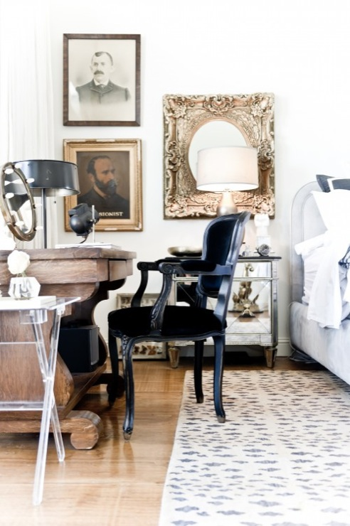 Jamie Laubhan Oliver Chic, Eclectic Bedroom Design With Philippe Starck Black  Ghost Chair, Cheetah Rug, Acrylic Lucite Folding Tray Table, Vintage Desk  And ...