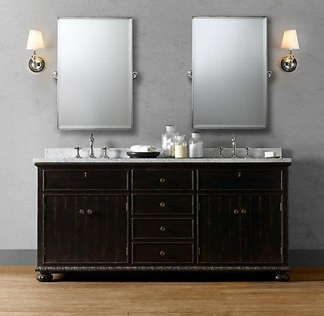 French empire double vanity sink double vanities for Restoration hardware bathroom cabinets