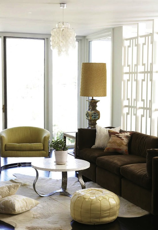 Wonderful Chic Hollywood Regency Living Room Design With White Capiz Chandelier,  Green Mid Century Modern Chair, Brown Velvet 3 Cushion Sofa, White Cowhide  Rug, ... Part 21