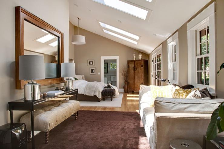 Skylights in bedroom transitional bedroom benjamin - Slanted ceiling paint ideas ...