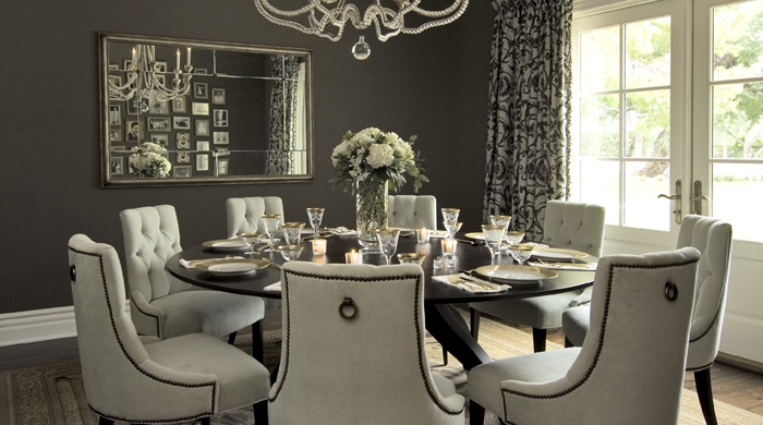 Gorgeous Dining Room Design With Baker Tufted Chairs Walnut Round Table Charcoal Gray Taupe Walls Paint Color French Doors And White