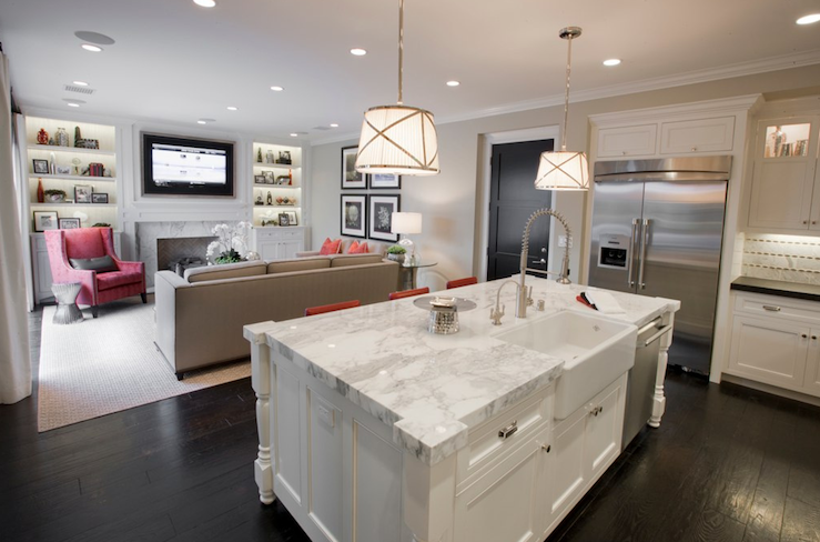 Calcutta marble kitchen island contemporary kitchen for Kitchen family room combo floor plans